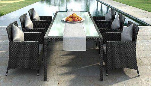 Gartenmobel Essgruppe Rattan Dinning Set Nizza Black Tisch 2m 6