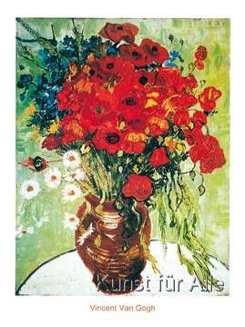 Van Gogh Vase Avec Marguerite Kunstdruck Leinwandbild Gerahmtes Bild Blumen Kunst Mohnblumen Kunst Vincent Van Gogh