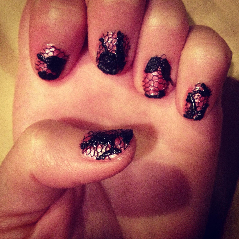 Nail polish with lace
