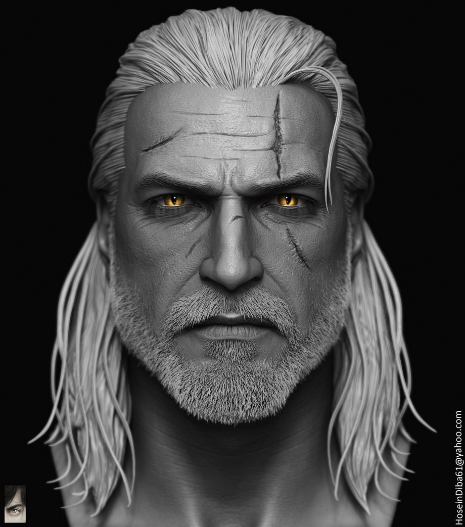 Geralt of Rivia done for custom witcher series of action figures by Hossein Diba | Portrait | 3D | CGSociety