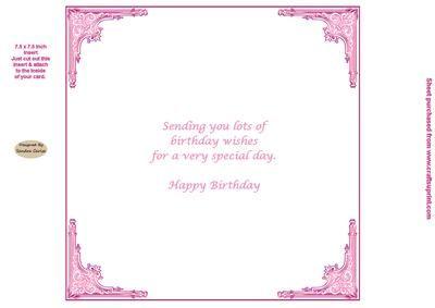 Pink 7 5 x 7 5 Inch Birthday Insert on Craftsuprint designed by Sandra Carlse…