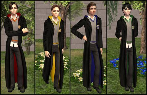 Mod The Sims Hogwarts Uniforms For Teenage Boys Robes Hogwarts Uniform Sims 4 Clothing Hogwarts Robes