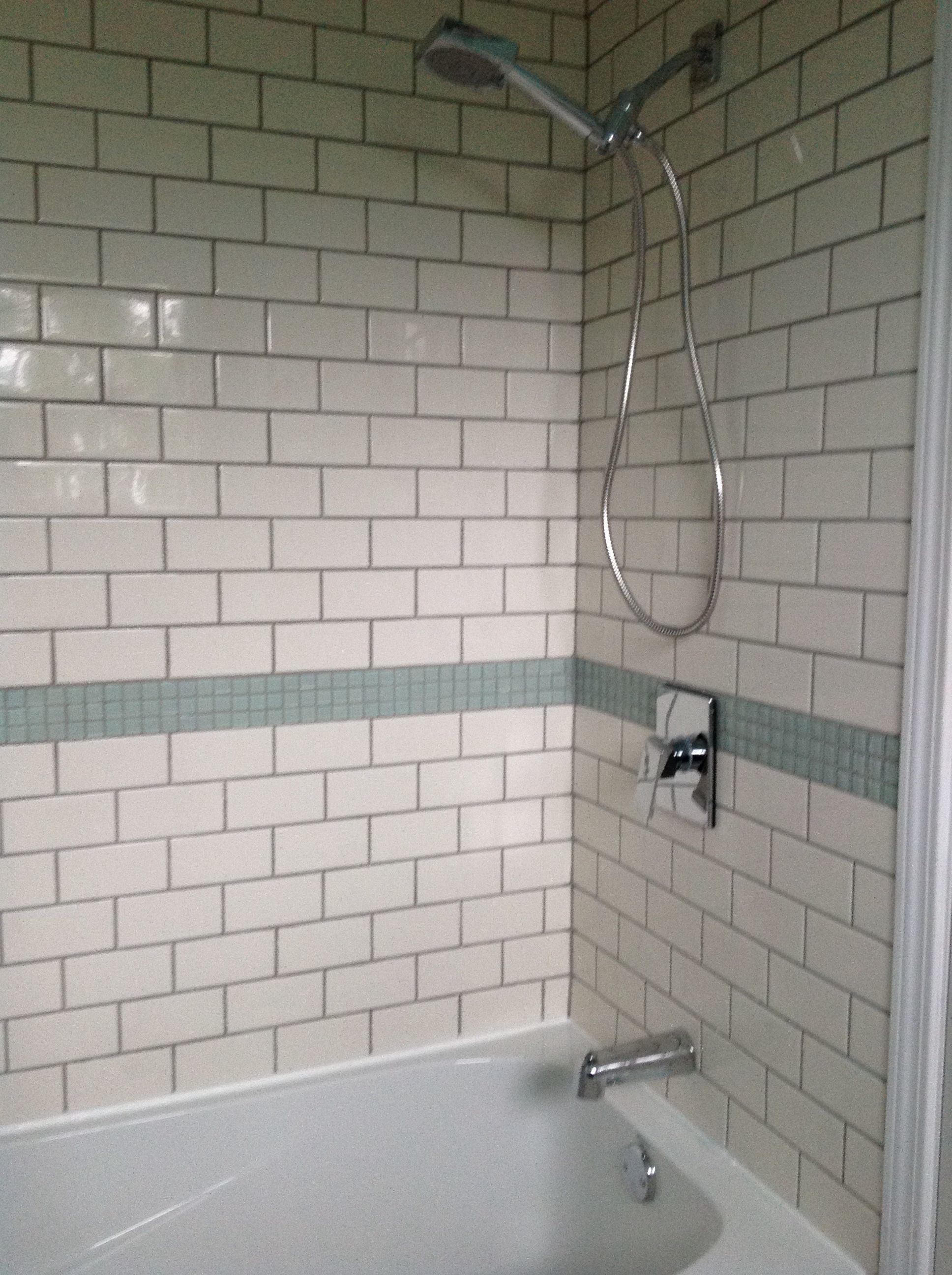 Cream Subway Tiles With Glass Squares Tile Bathroom Subway