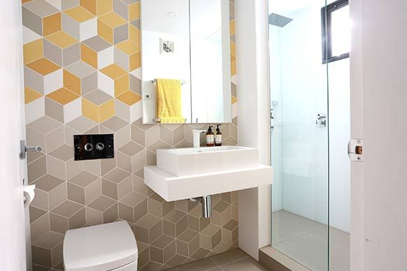 Wall Feature Tiles Urban Edge Ceramics Www Urbanedgeceramics Com Au Tex Cream Tex Yellow Tex Whit The Block Bathroom Bathroom Inspiration Ensuite Bathrooms