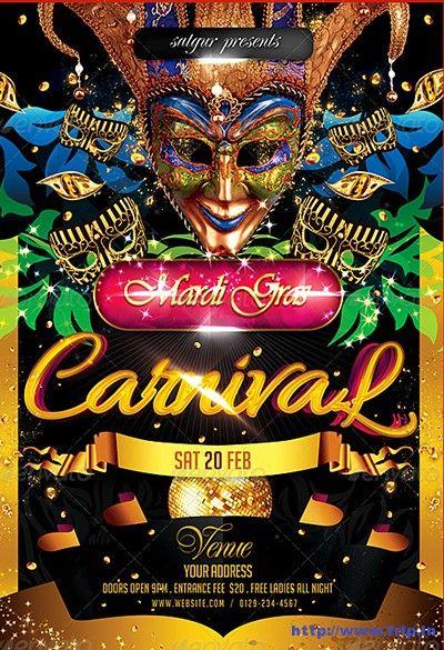 Mardi-Gras-Carnival-Party-Flyer-2 | Mardi Gras,Circus ...