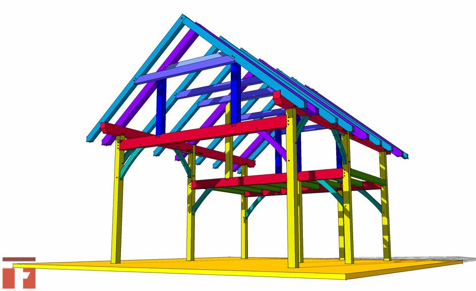 20x24 Timber Frame Plan With Loft Timber Frame Hq Timber Frame Plans Timber Frame Shed Plans