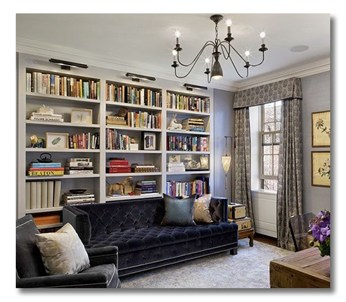 Library Office Combo, Brooklyn Row House Featured On  Www.fieldstonehilldesign.com   Fieldstone