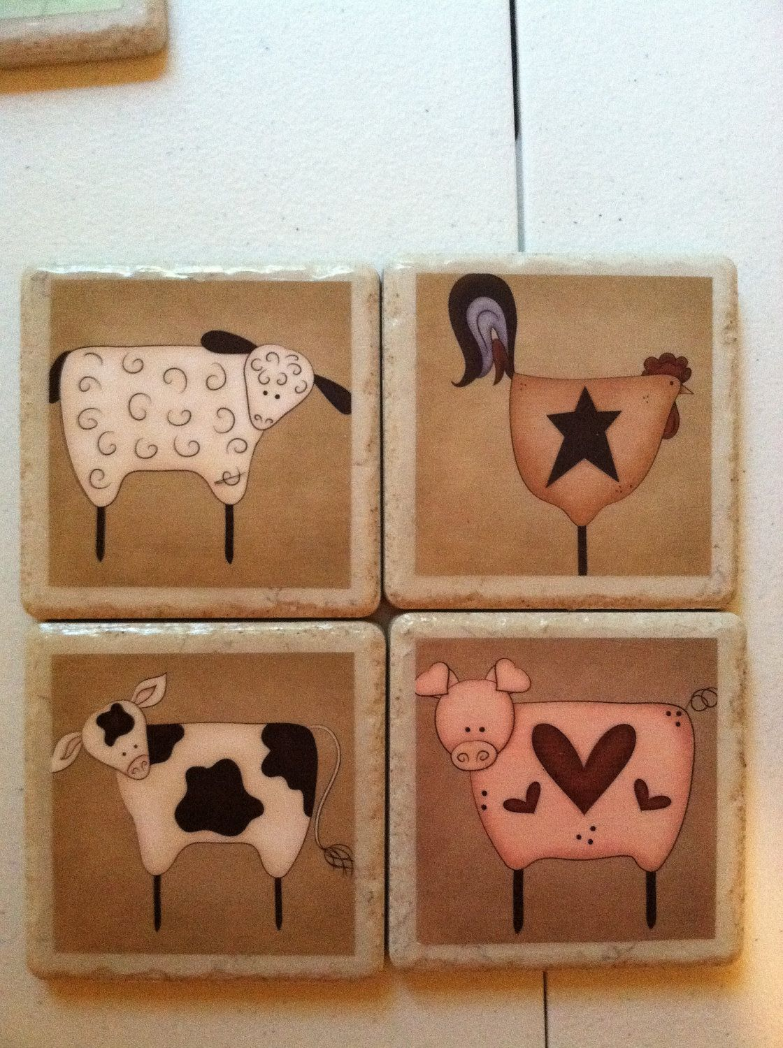 Pig Coasters Primitive Farm Animals Cow Rooster Sheep And Pig Print