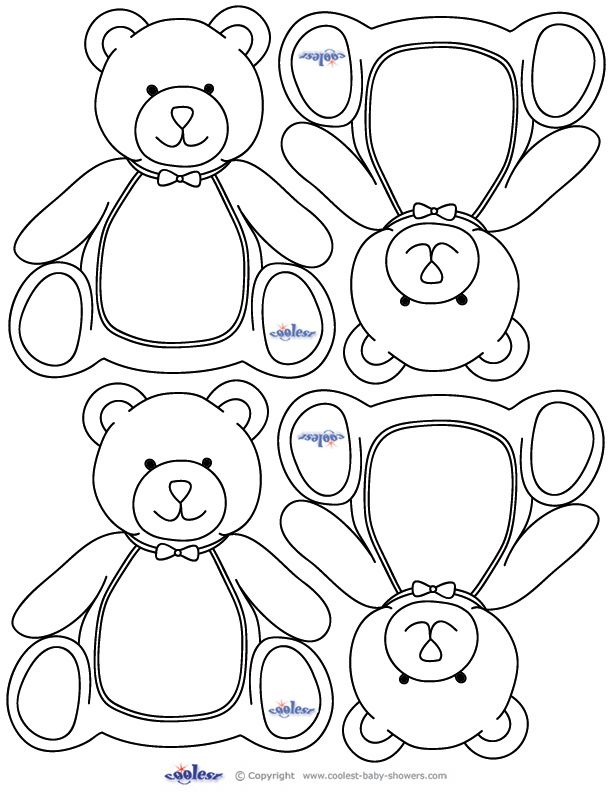 Blank Printable Teddy Bear Thank You Cards Baby Bear Baby Shower