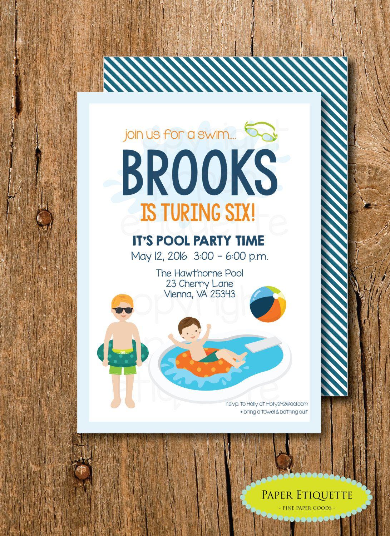 Pool Party Birthday Invitation Boy Pool Party Birthday Invitations