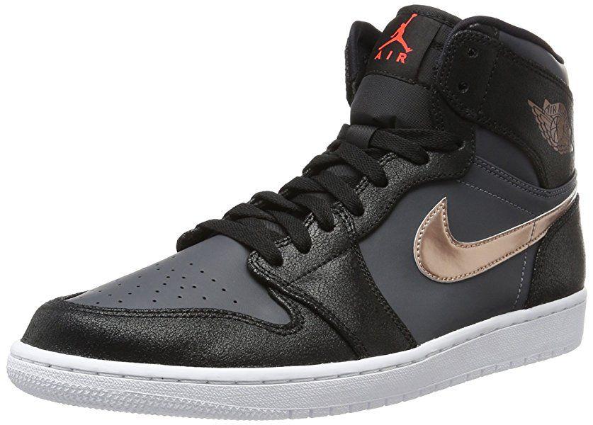 newest 64029 08d86 Nike Jordan Men s Air Jordan 1 Retro High Blk Mtlc Rd Brnz Drk Gry White  Basketball Shoe 12 Men US