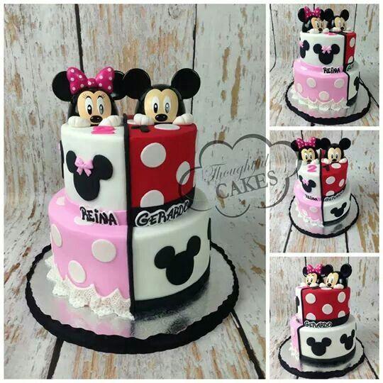 Astonishing Mickey N Mini Minnie Mouse Birthday Cakes Mickey And Minnie Personalised Birthday Cards Vishlily Jamesorg