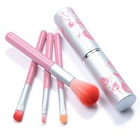 4pcs pincel de maquillaje con color rosa cosméticos para el cabello sintético Herramientas