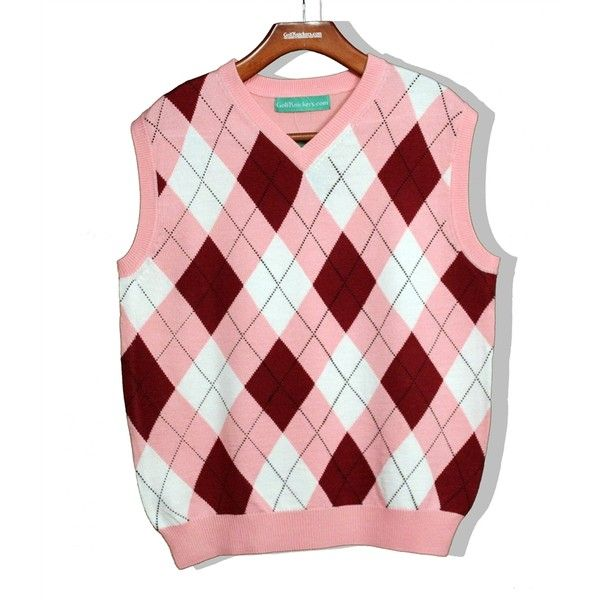 Mens Pink Sweater Vest Liked On Polyvore Featuring Mens Fashion