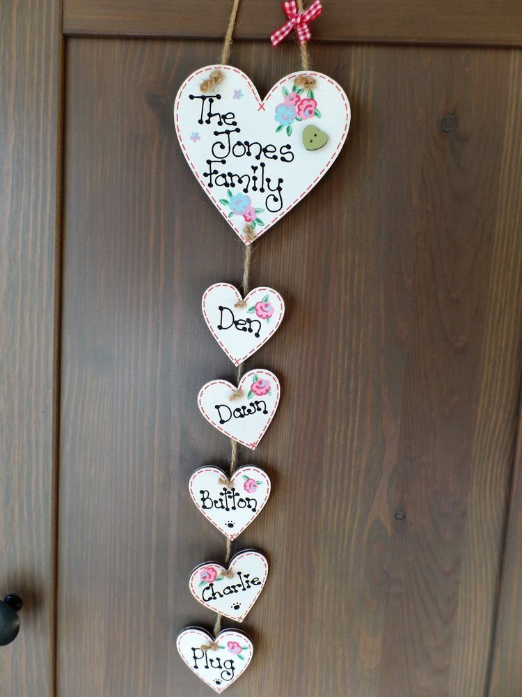 Details About Personalised Our Family Name Plaque Handmade Hanging