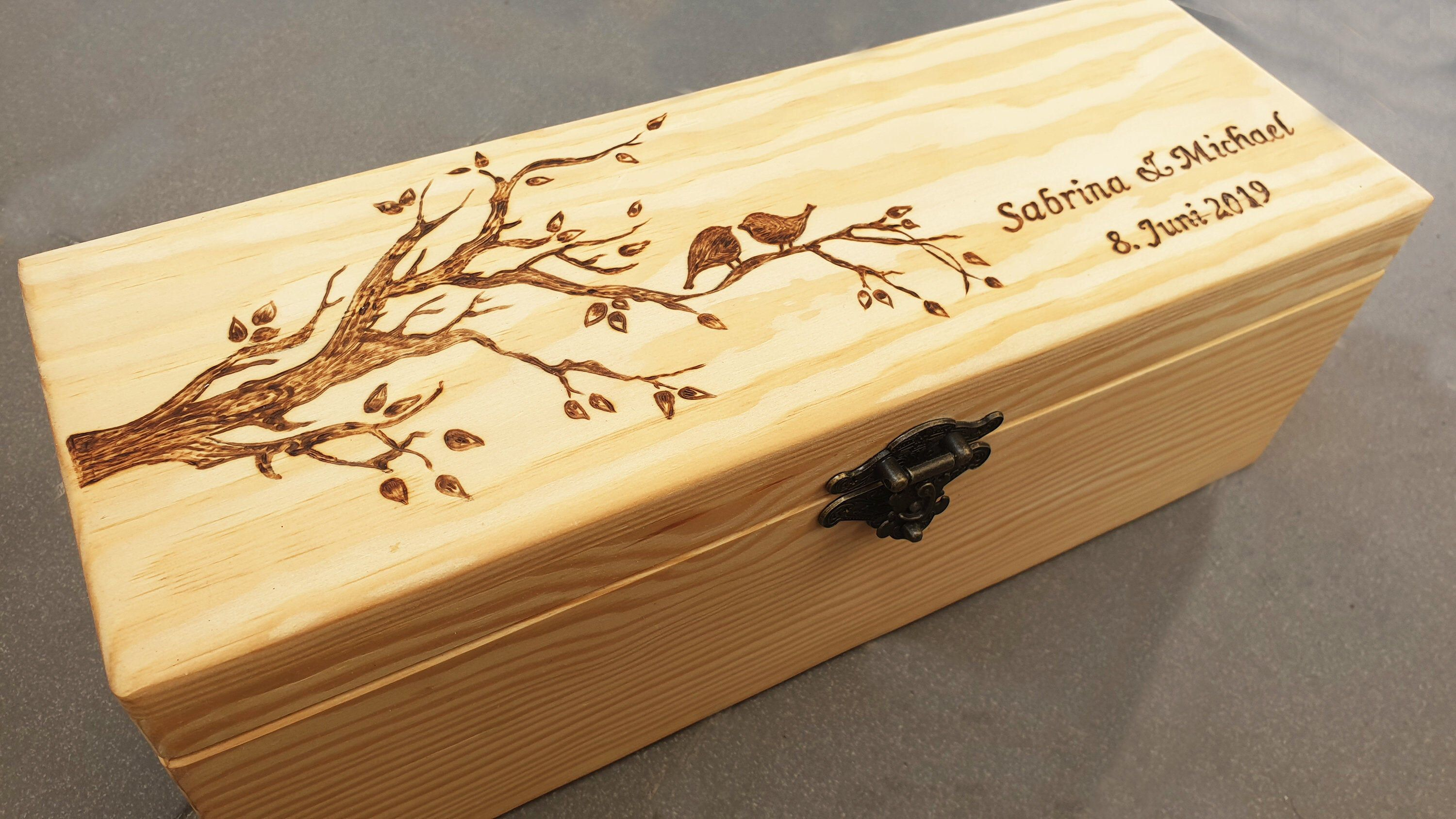 Personalised Mothers Day Butterfly Design Wooden Double Wine Box Engraved Gift
