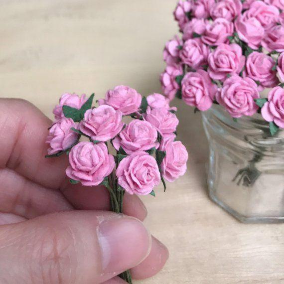 20 50 100pcs 10mm Miniature Mulberry Paper Flower Miniature Paper