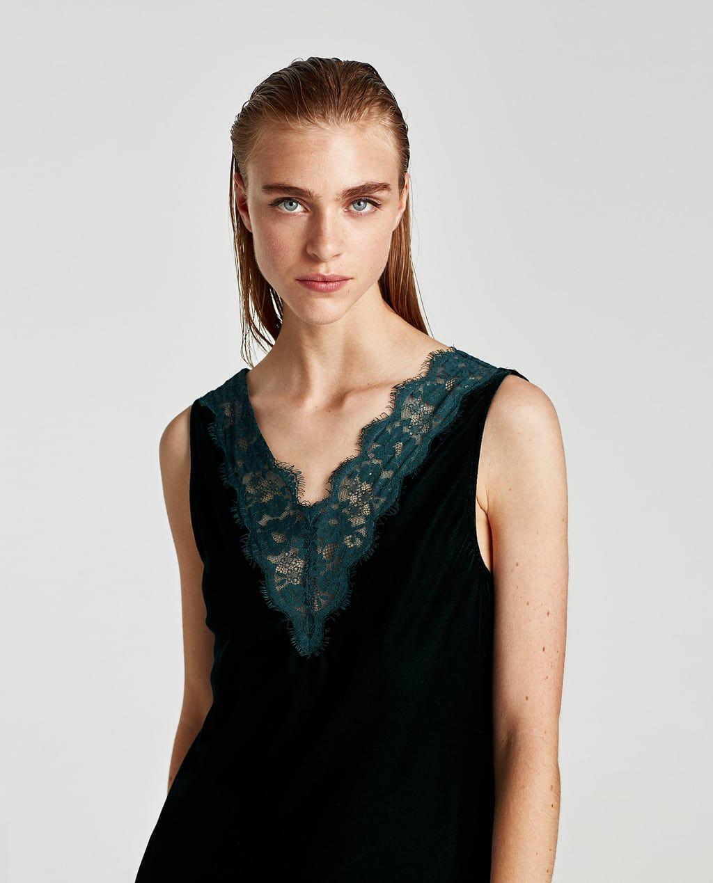 Zara Dan 4 Dantelli Kadife Elbise Resmi Fashion Camisole Top Women