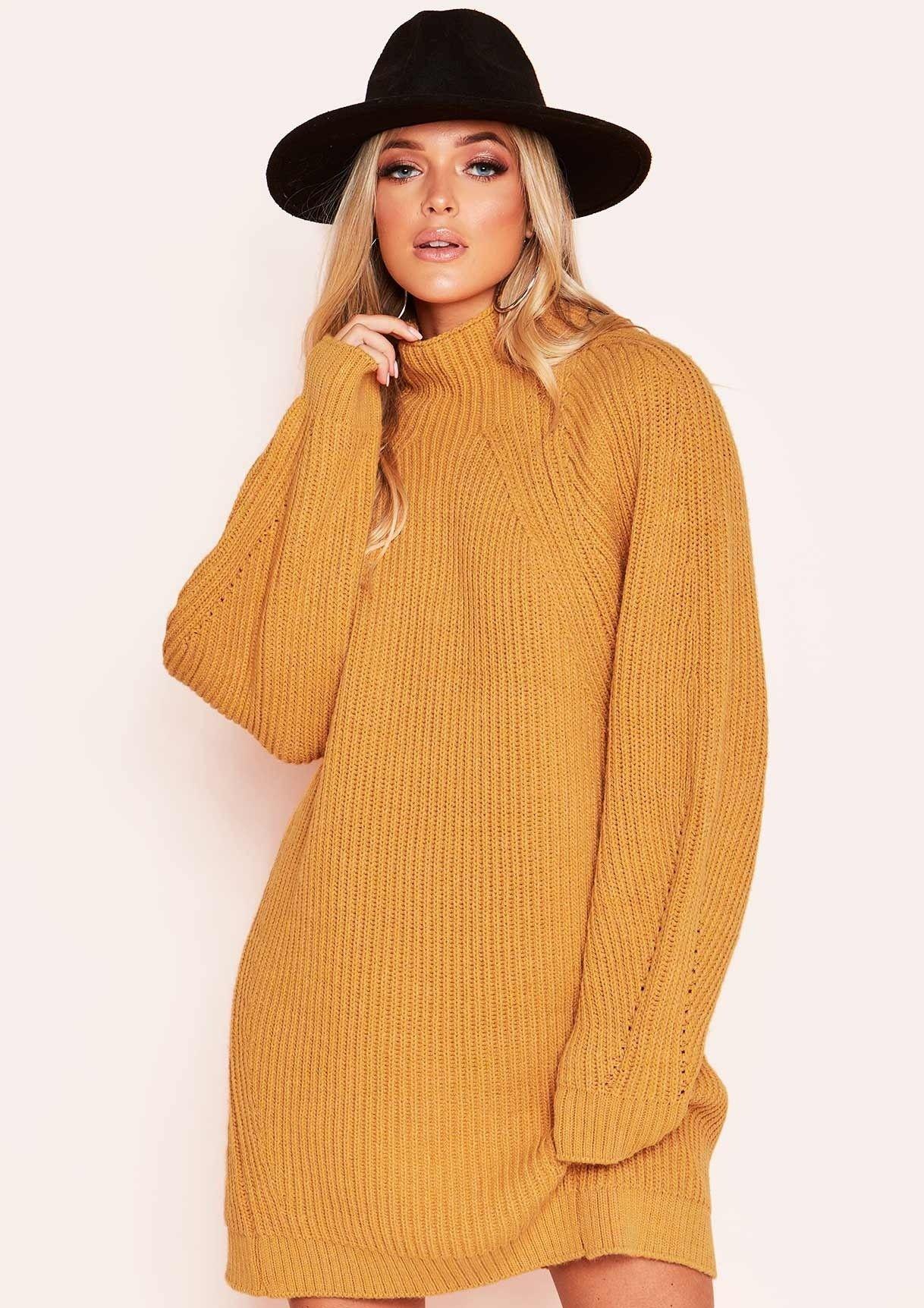 Amie Mustard Chunky Knit Jumper Dress #chunkyknitjumper