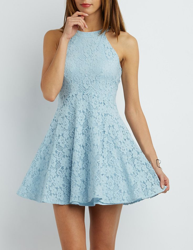 51feee16b7 Blue Floral Lace Skater Dress by Charlotte Russe