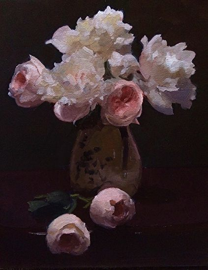 Peony & Juliet Tango by Dennis Perrin Oil ~ 20 x 16