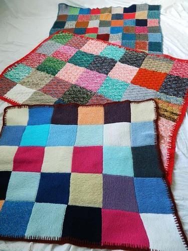lot de 3 plaid lit couverture tricot laine patchwork multicolore granny vintage chambre. Black Bedroom Furniture Sets. Home Design Ideas
