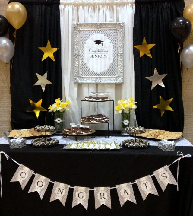 Black white and gold graduation party