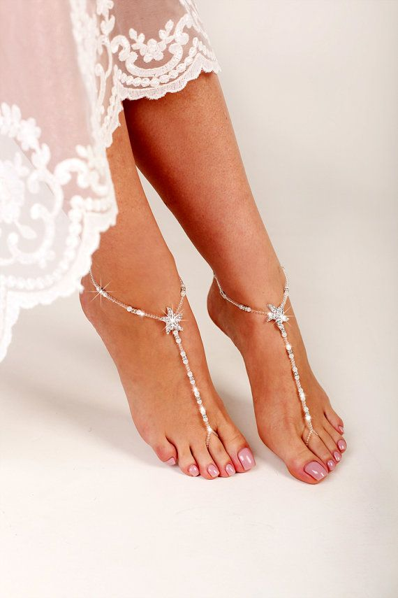 6caa8b505ffd37 Starfish Beaded Barefoot Sandals Anklet Beach by FancyFeetsShop