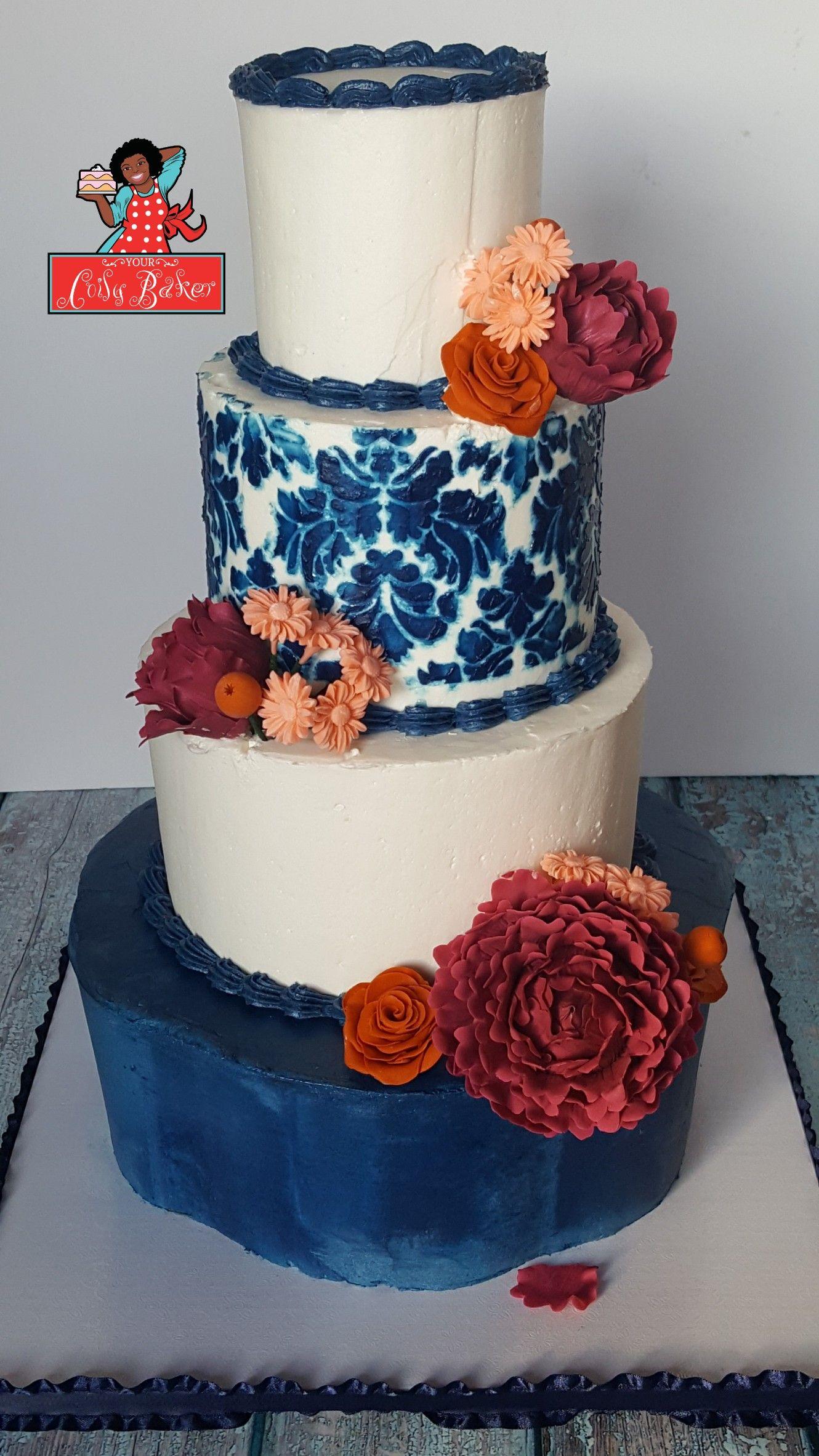 4 tier anniversary cake. Fall color palette cake. Burgundy