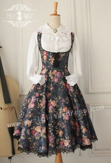 Gothic Vintage Lolita Jumper Dress with Thorn Flower $55.99-Cotton ...
