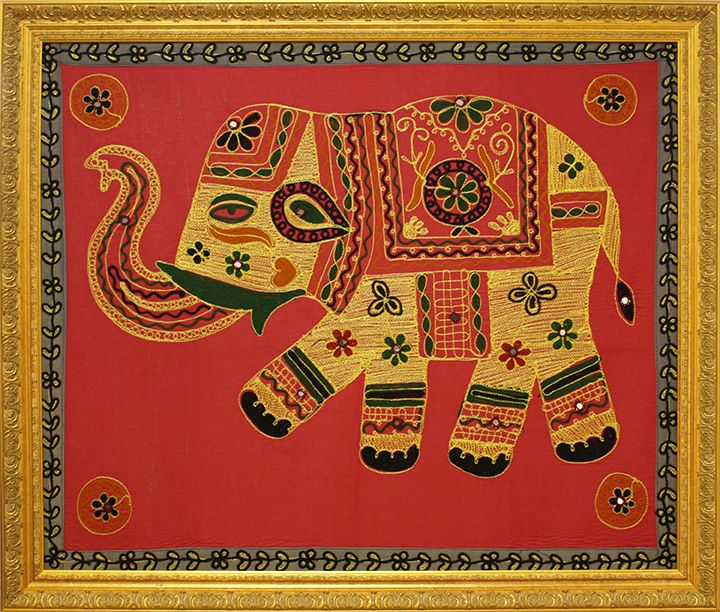 Elephant Tapestry in matching gold frame. Designed and custom framed ...