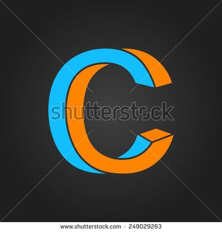 Graphic Decorative Design Alphabet Letter C Symbol In Two