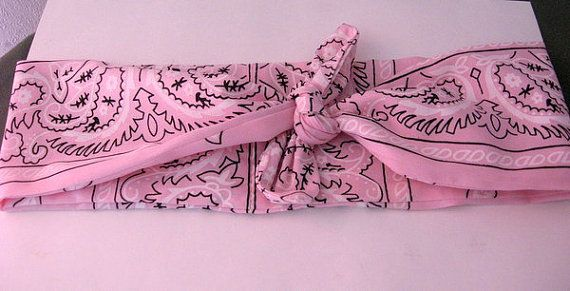 Fabric Head Bandana Pink Bandana Hair Band by CrochetnMoreByAlida, $9.75