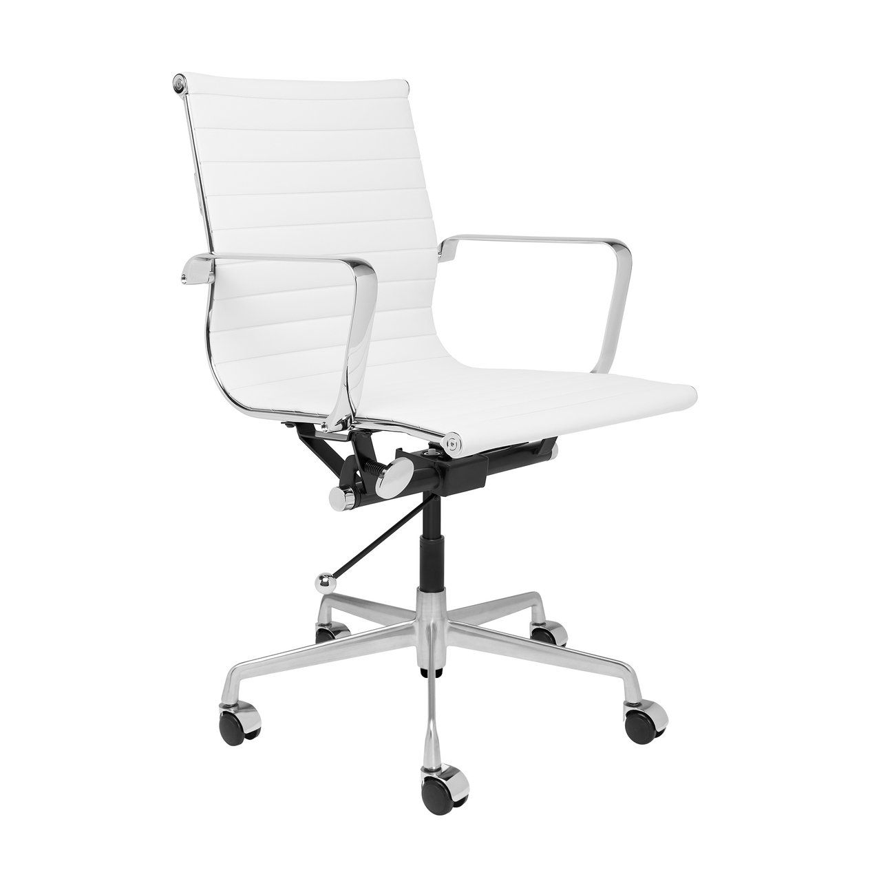 Soho Ribbed Management Chair White In 2020 Mid Century Modern Office Chair Office Chair Design Mid Century Modern Office