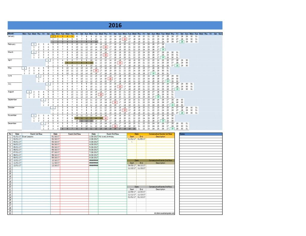 2017 2018 And 2019 Calendars Excel Templates 2019 Yearly