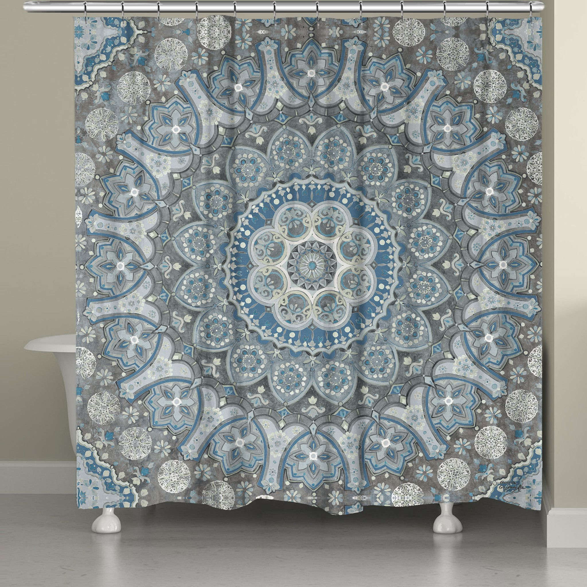 Ice Mandala Shower Curtain Add A Hint Of Boho Flair To Your Bathroom With This Calming Blue And Grey Design All Our Products Are Digitally