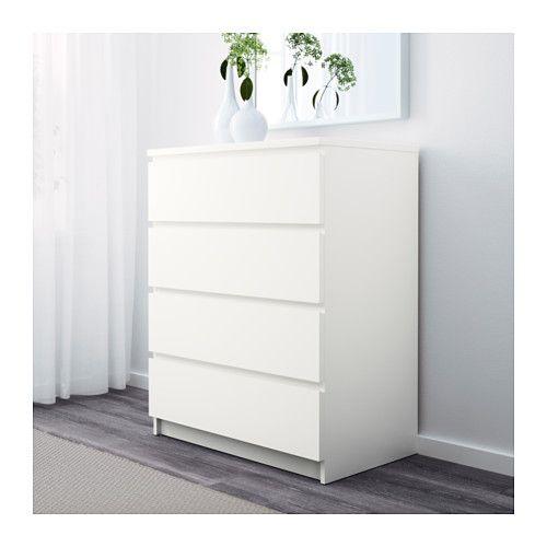 Kommode ikea  MALM Kommode mit 4 Schubladen, weiß | Malm, Schubladen und Ikea
