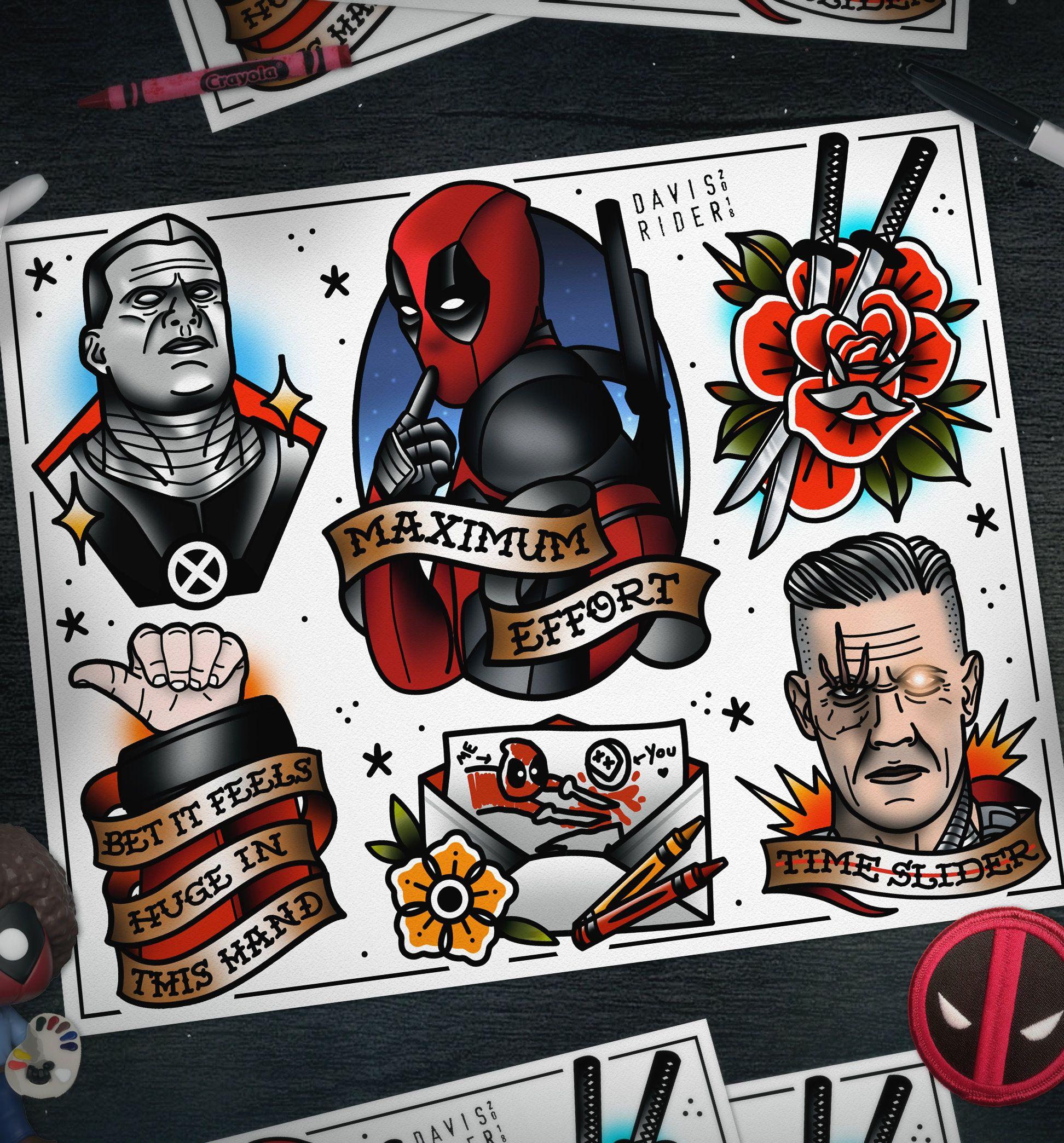 Davisriderprints deadpool tattoo marvel tattoos