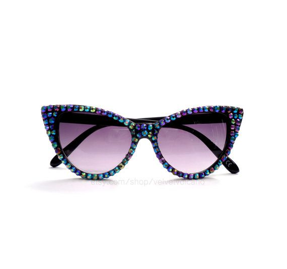 PEACOCK Sparkly Black Cat Eye Sunglasses, Rockabilly