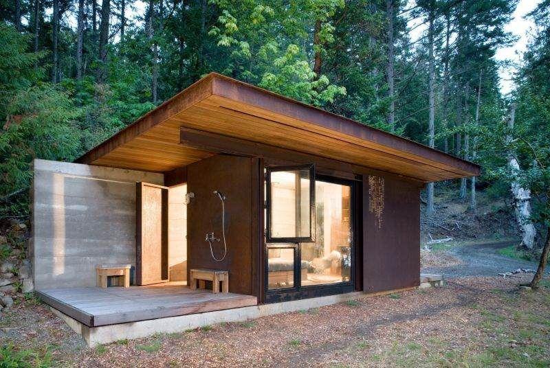 cabane en b ton bois et acier dans les for ts gulf island panneau coulissant maisons futures. Black Bedroom Furniture Sets. Home Design Ideas