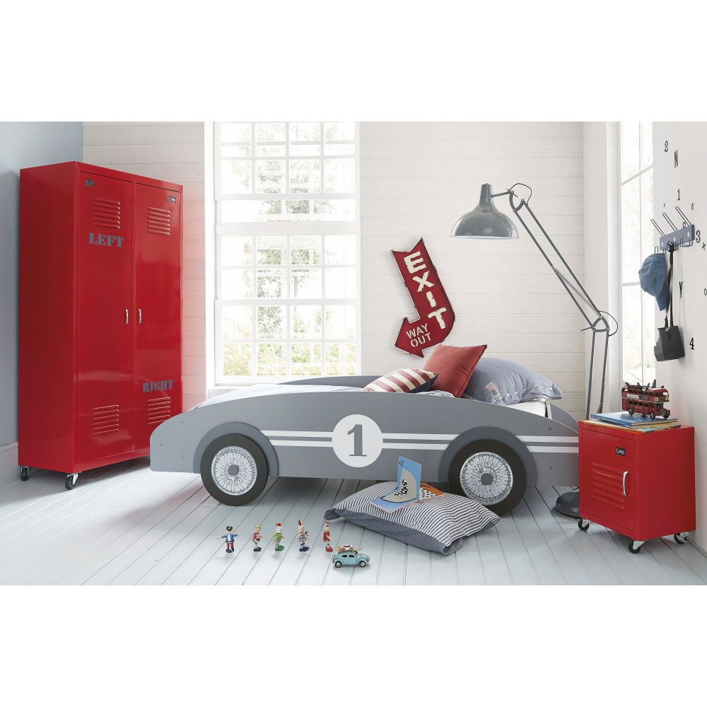 Wooden 90x190 Child S Car Grey Bed Boys Car Bedroom Car Bed