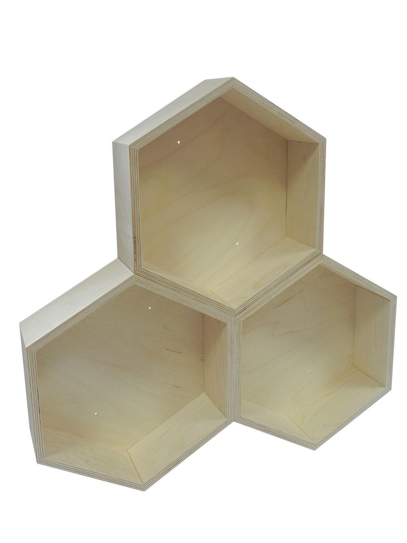 Półka Drewniana Plaster Miodu Decoupage Hexagon Pw