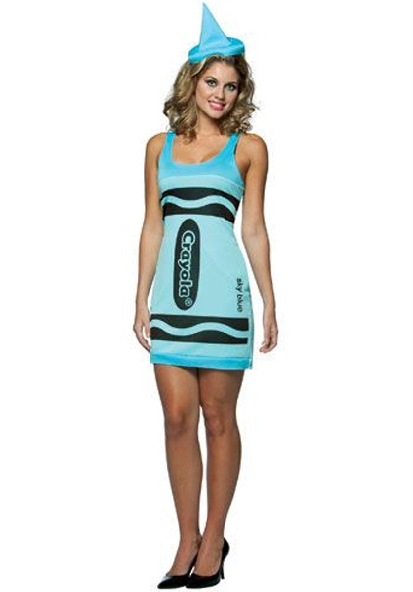 Crayola Sky Blue Crayon Costume Funny Fancy Dress Retro Costumes