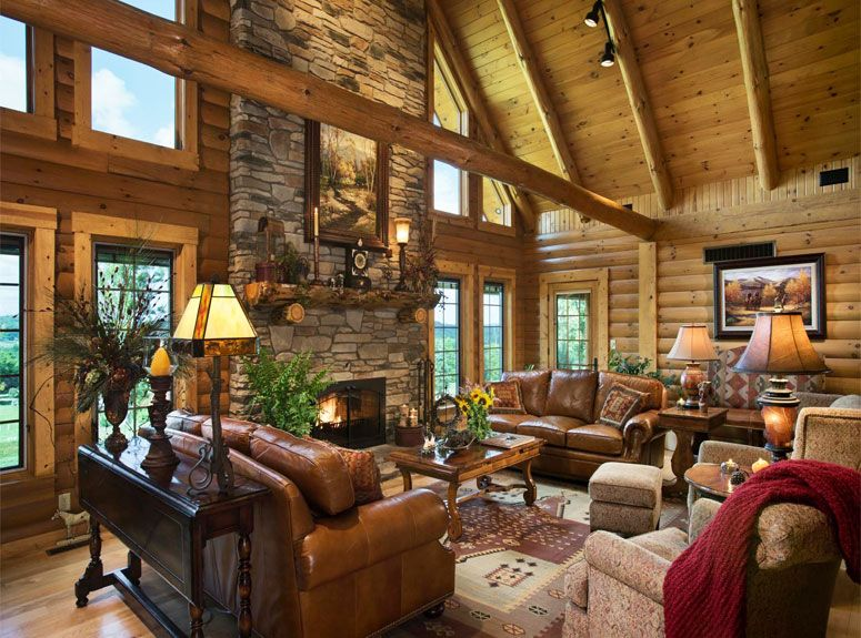 Cabin Interior Article About How To Lighten Log Walls Cabin Interior Design Log Home Interior Log Home Interiors