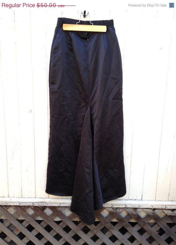 25% OFF MERMAID train black satin silk maxi skirt by AGORAPHOBE