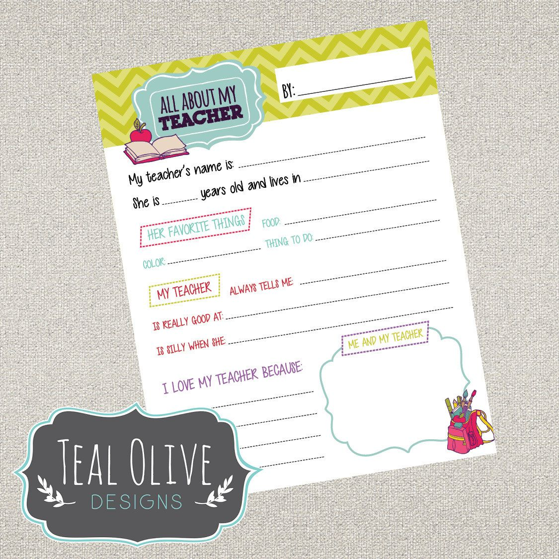 All About My Teacher Questionnaire Printables