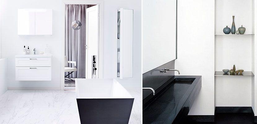 Como decorar ba os de estilo minimalista en blanco y negro cuartos de ba os pinterest - Muebles de bano negros ...