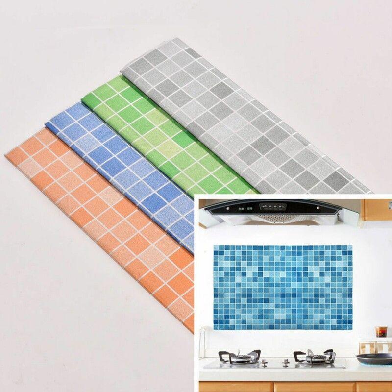 45x70cm Mosaic Aluminum Foil Self Adhensive Anti Oil Wallpaper For Kitchen Waterproof Wall Stickers Home Deco Wall Stickers Tiles Wall Sticker Mosaic Wallpaper