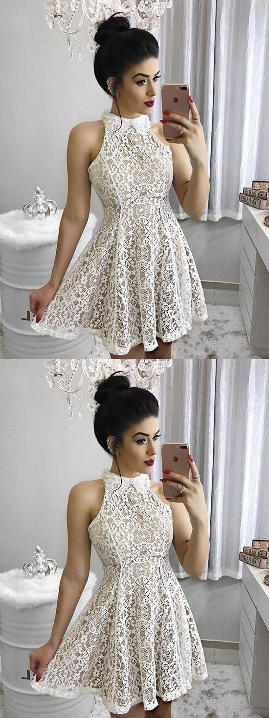 Chic homecoming dress ivory high neck lace short prom dress party