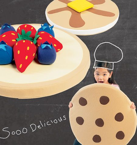 Giant pancake/cookie/pie floor cushions with fruit pillows | Sewing ...